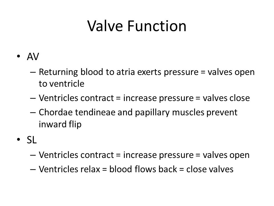Valve Function AV. Returning blood to atria exerts pressure = valves open to ventricle. Ventricles contract = increase pressure = valves close.