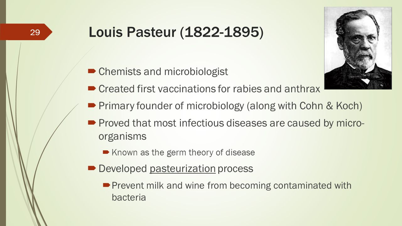 Louis Pasteur (1822-1895) Chemists and microbiologist