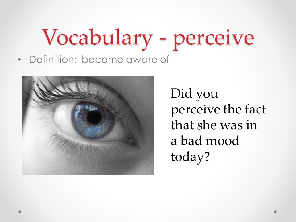 Vocabulary - perceive Definition: become aware of.