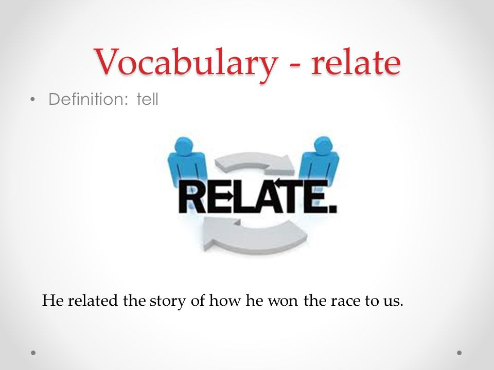 Vocabulary - relate Definition: tell