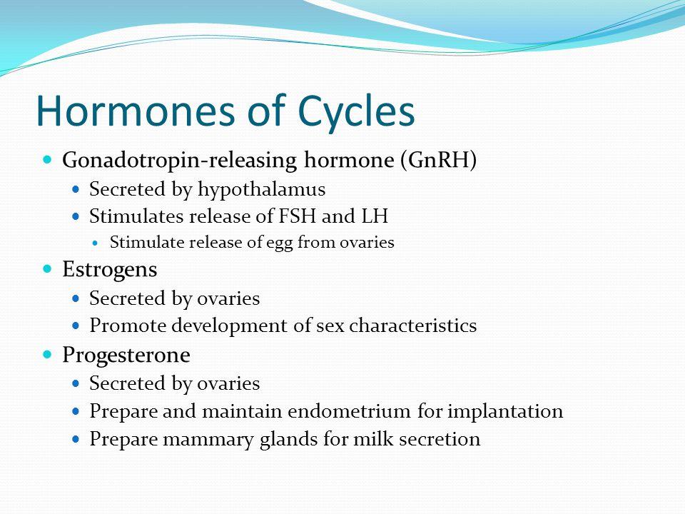 Hormones of Cycles Gonadotropin-releasing hormone (GnRH) Estrogens
