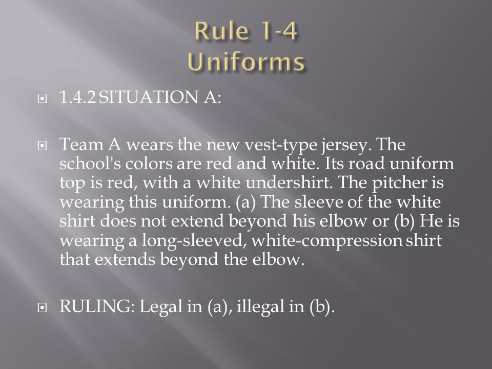 Rule 1-4 Uniforms 1.4.2 SITUATION A: