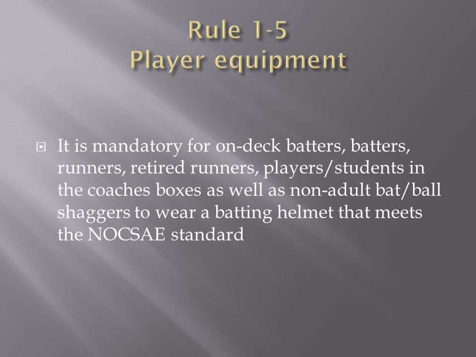 Rule 1-5 Player equipment