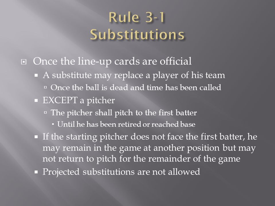Rule 3-1 Substitutions Once the line-up cards are official