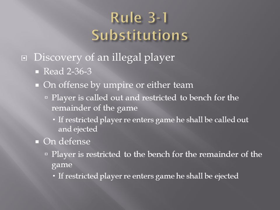 Rule 3-1 Substitutions Discovery of an illegal player Read 2-36-3