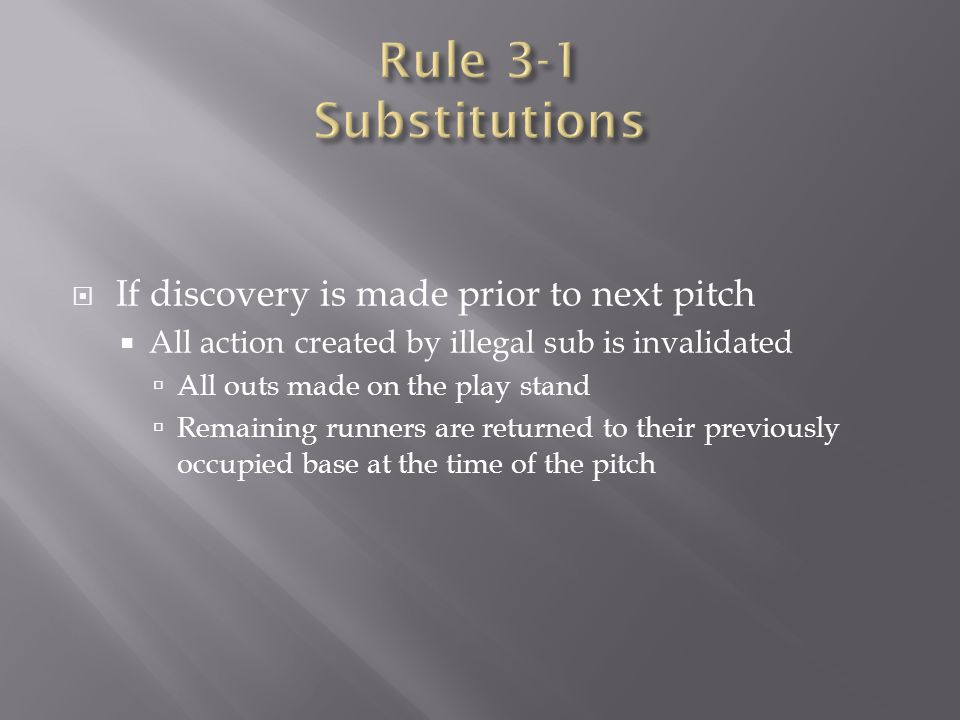 Rule 3-1 Substitutions If discovery is made prior to next pitch