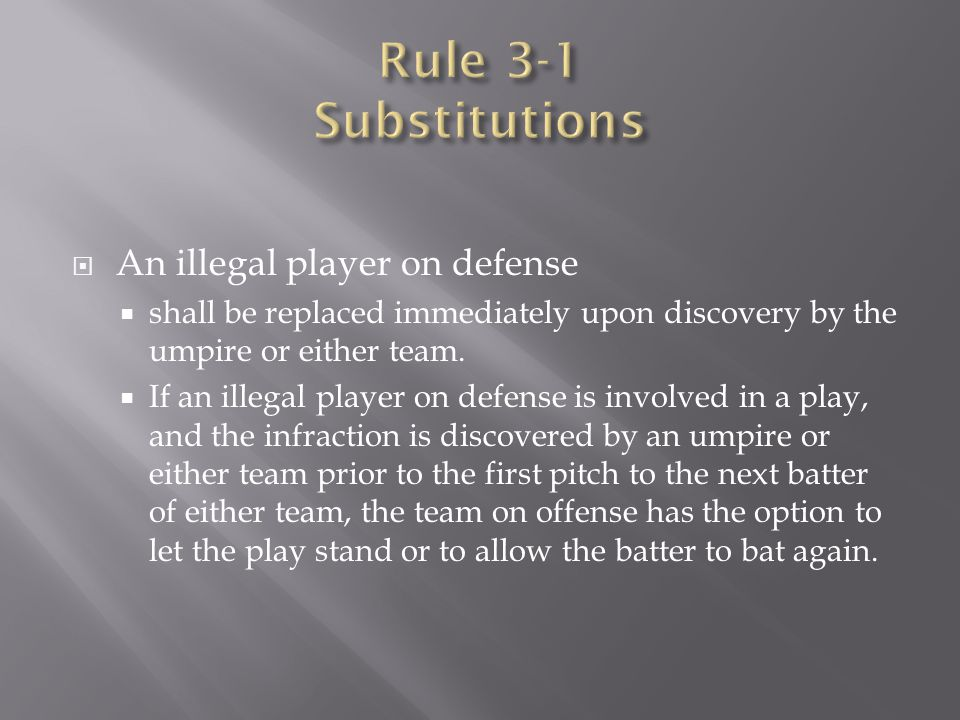 Rule 3-1 Substitutions An illegal player on defense
