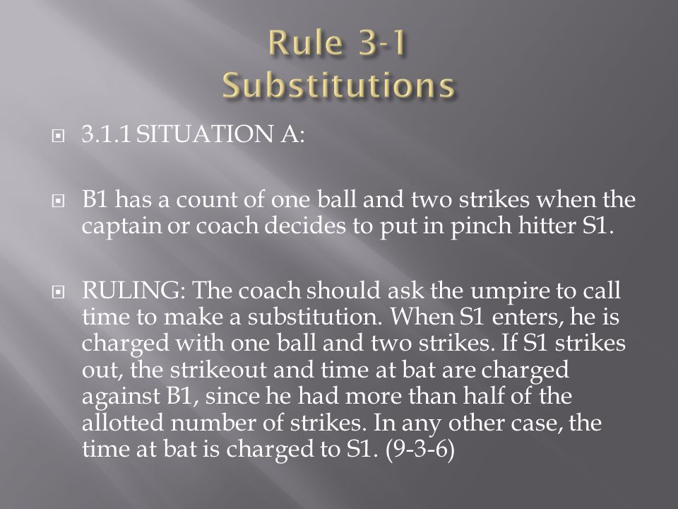 Rule 3-1 Substitutions 3.1.1 SITUATION A: