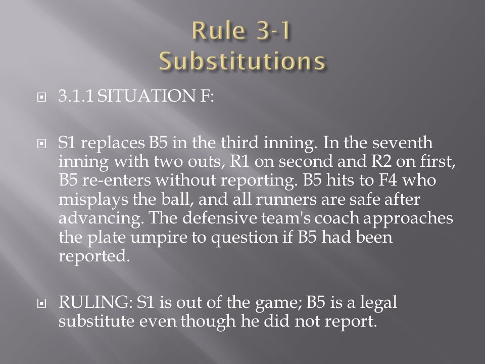 Rule 3-1 Substitutions 3.1.1 SITUATION F: