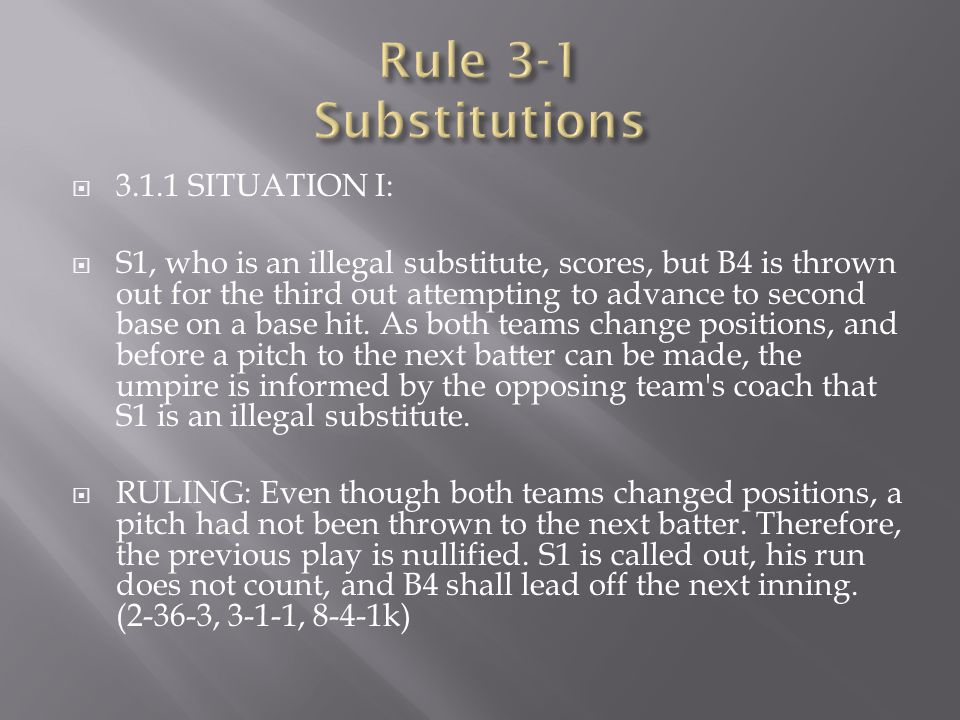 Rule 3-1 Substitutions 3.1.1 SITUATION I: