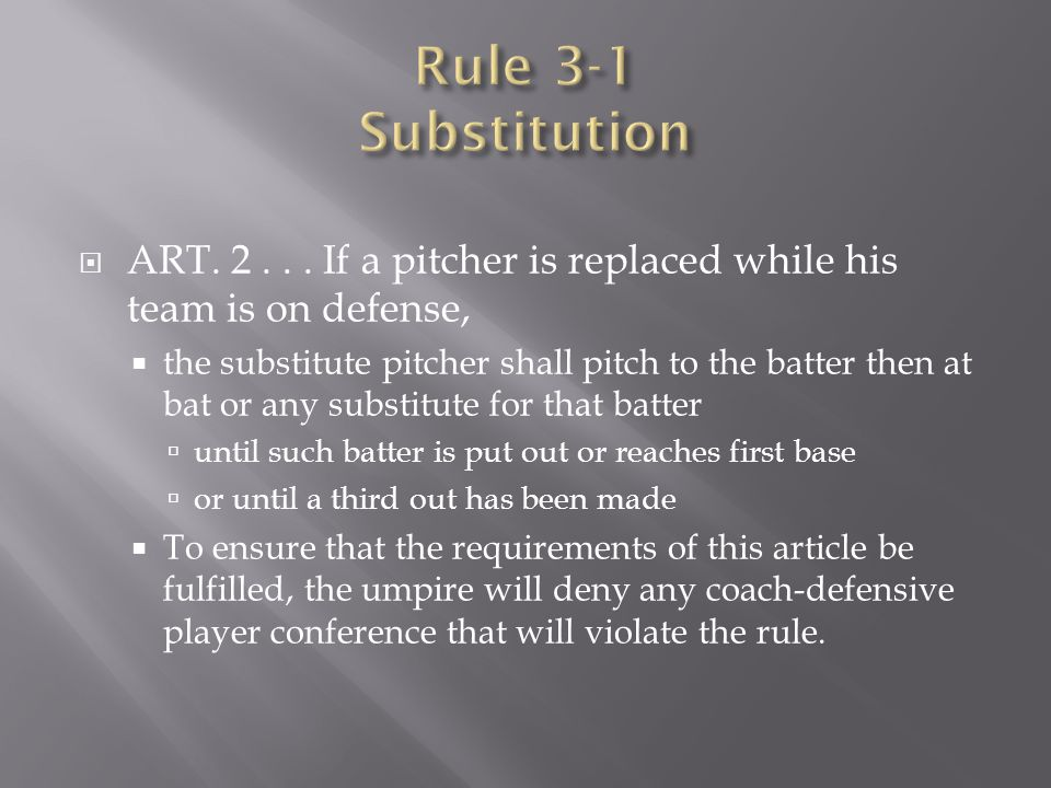 Rule 3-1 Substitution ART. 2 . . . If a pitcher is replaced while his team is on defense,