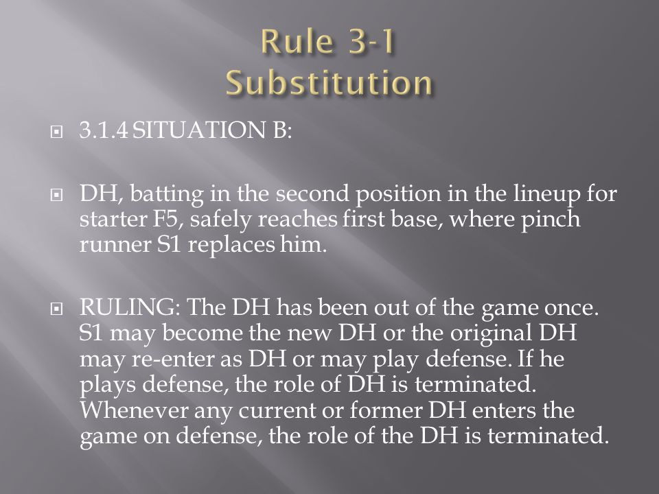 Rule 3-1 Substitution 3.1.4 SITUATION B: