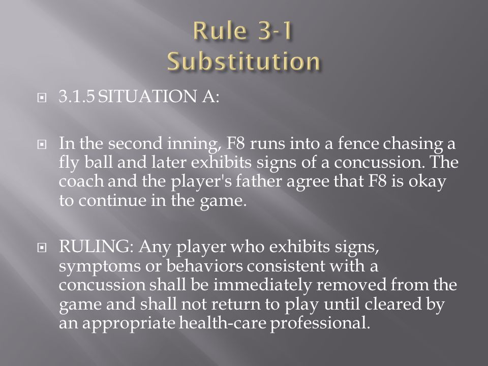 Rule 3-1 Substitution 3.1.5 SITUATION A: