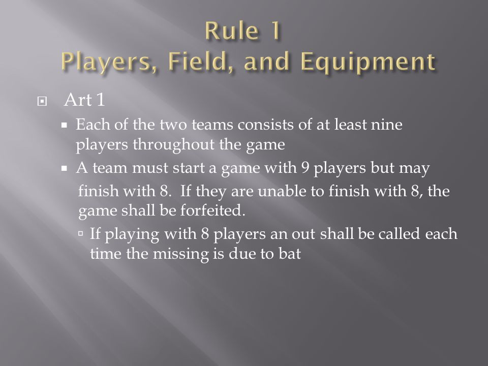 Rule 1 Players, Field, and Equipment