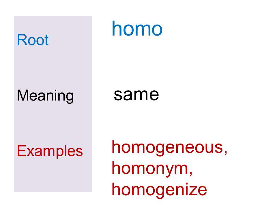 homo Root Meaning Examples same homogeneous, homonym, homogenize