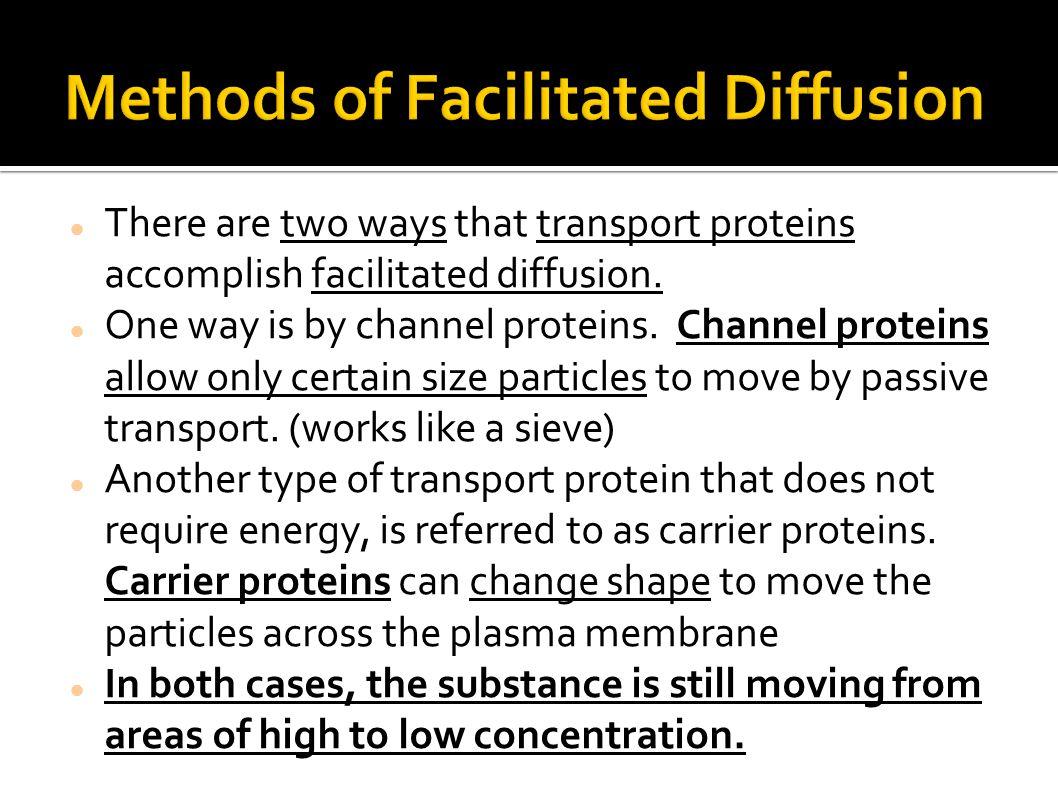 Methods of Facilitated Diffusion