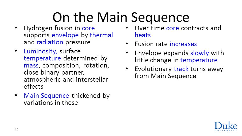 On the Main Sequence Hydrogen fusion in core supports envelope by thermal and radiation pressure.