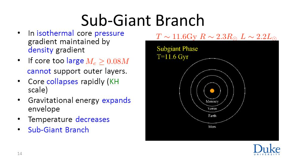 Sub-Giant Branch In isothermal core pressure gradient maintained by density gradient. If core too large.