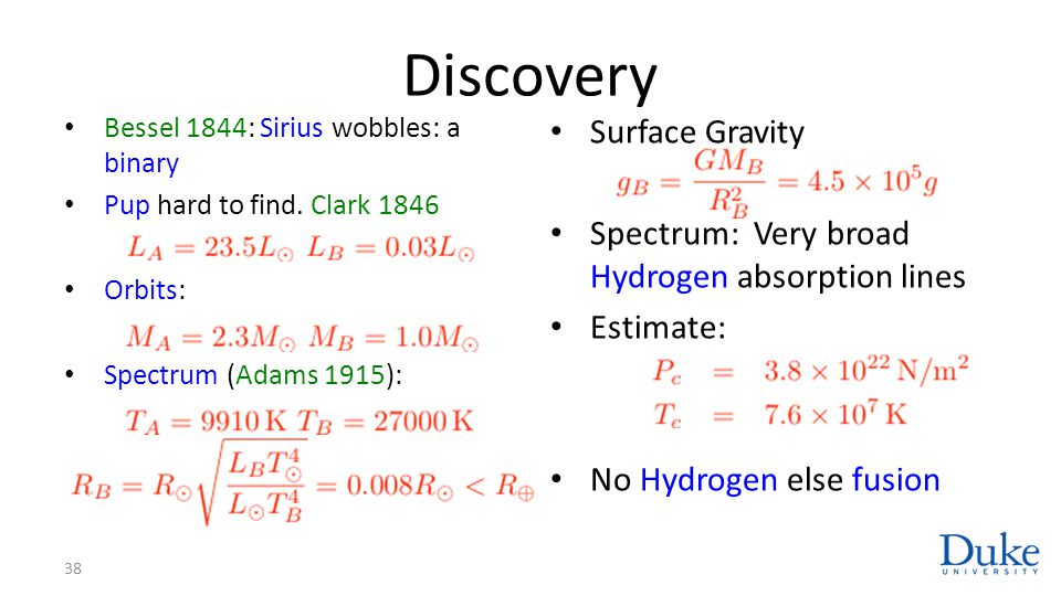Discovery Surface Gravity