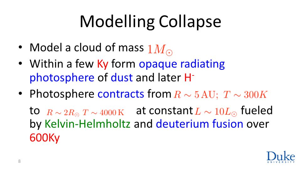 Modelling Collapse Model a cloud of mass