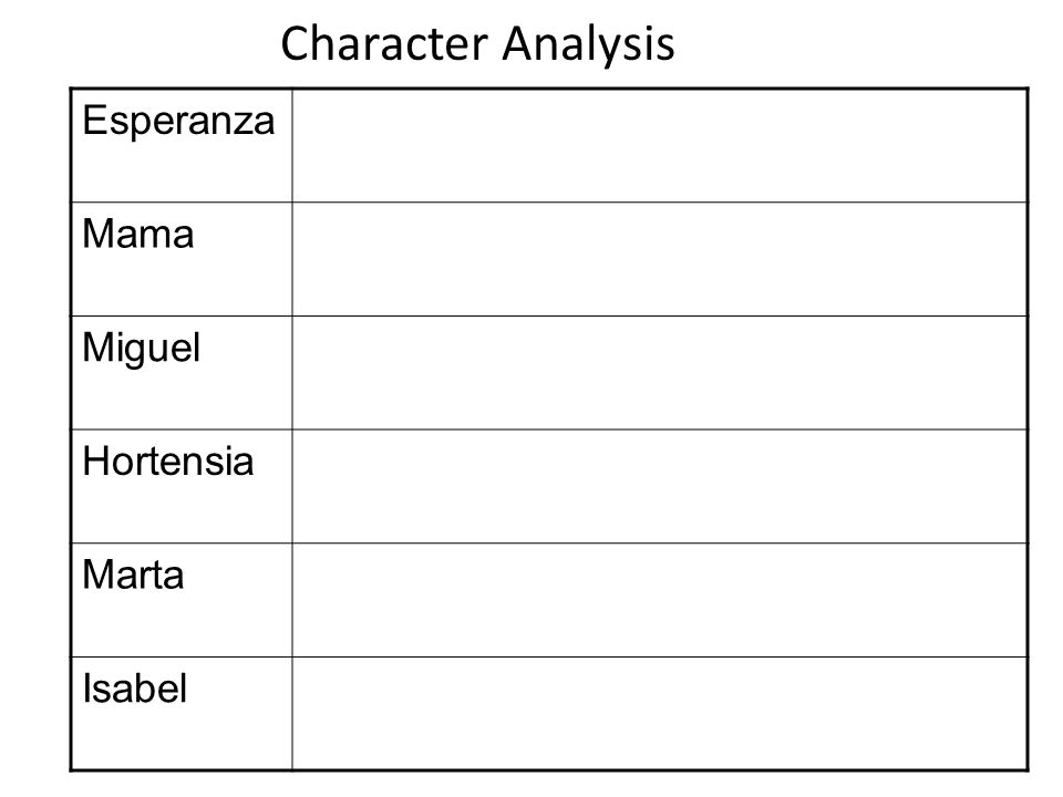 Character Analysis Esperanza Mama Miguel Hortensia Marta Isabel