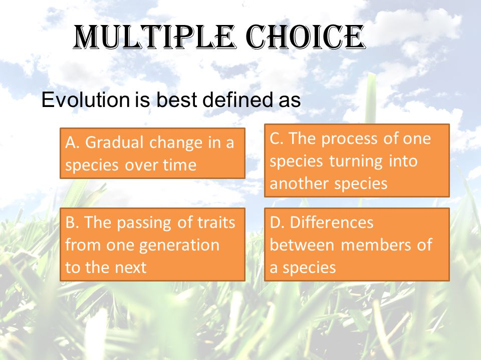 Multiple Choice Evolution is best defined as