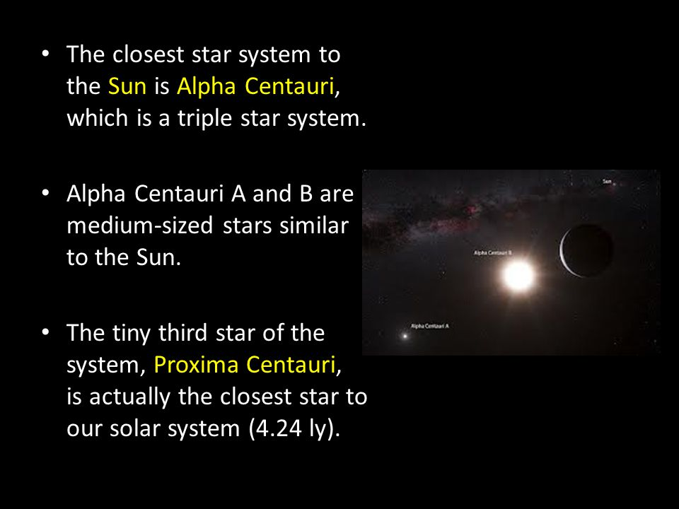 The closest star system to the Sun is Alpha Centauri, which is a triple star system.
