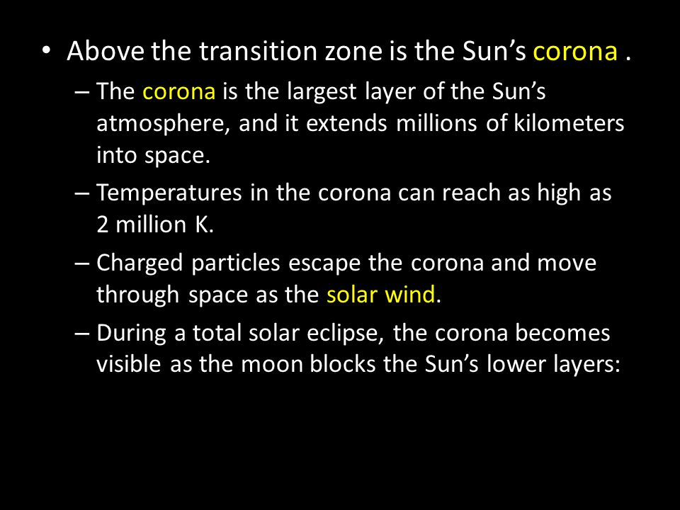 Above the transition zone is the Sun's corona .