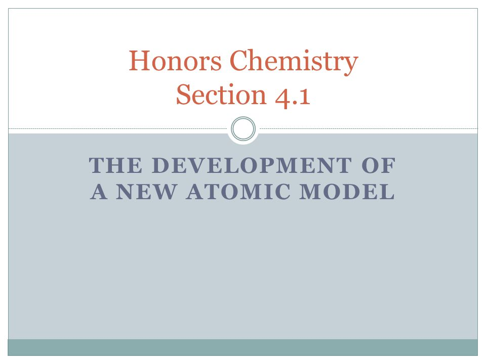 Honors Chemistry Section 4.1
