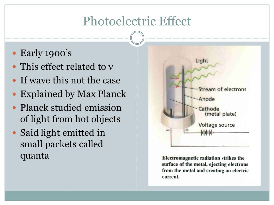Photoelectric Effect Early 1900's This effect related to ν