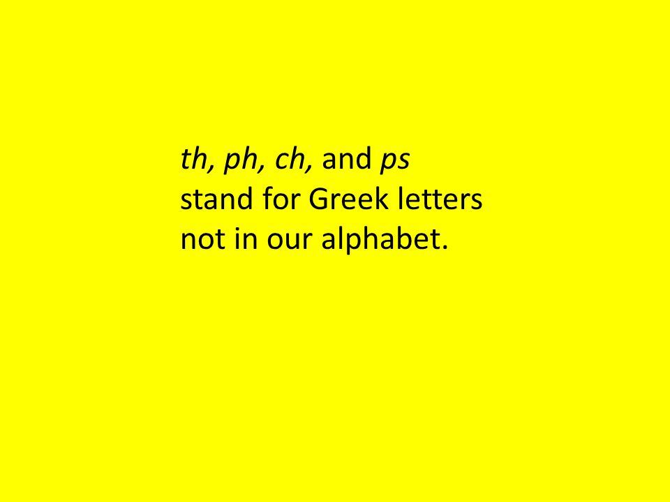th, ph, ch, and ps stand for Greek letters not in our alphabet.