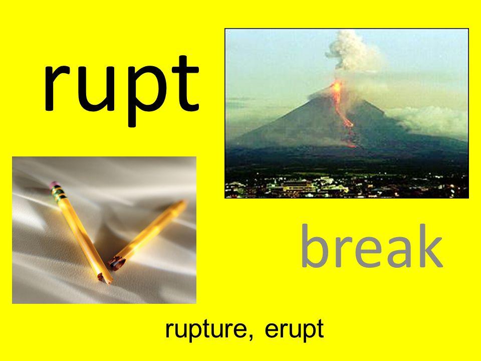 rupt break rupture, erupt