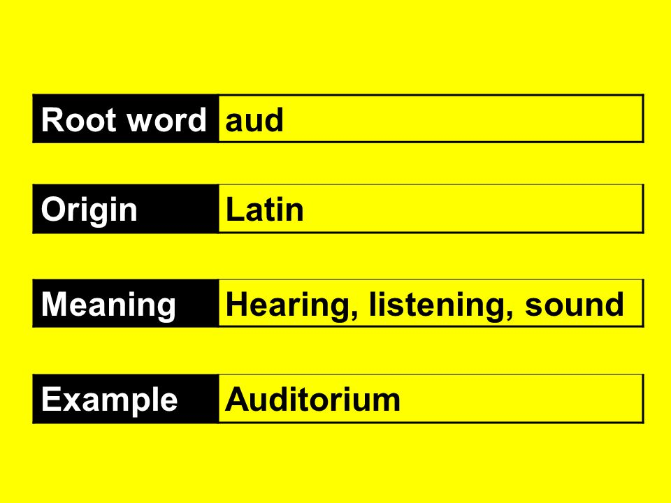 Root word aud Origin Latin Meaning Hearing, listening, sound Example Auditorium