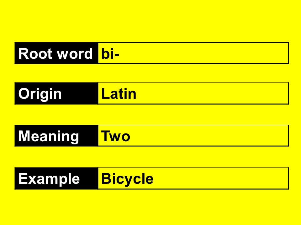 Root word bi- Origin Latin Meaning Two Example Bicycle