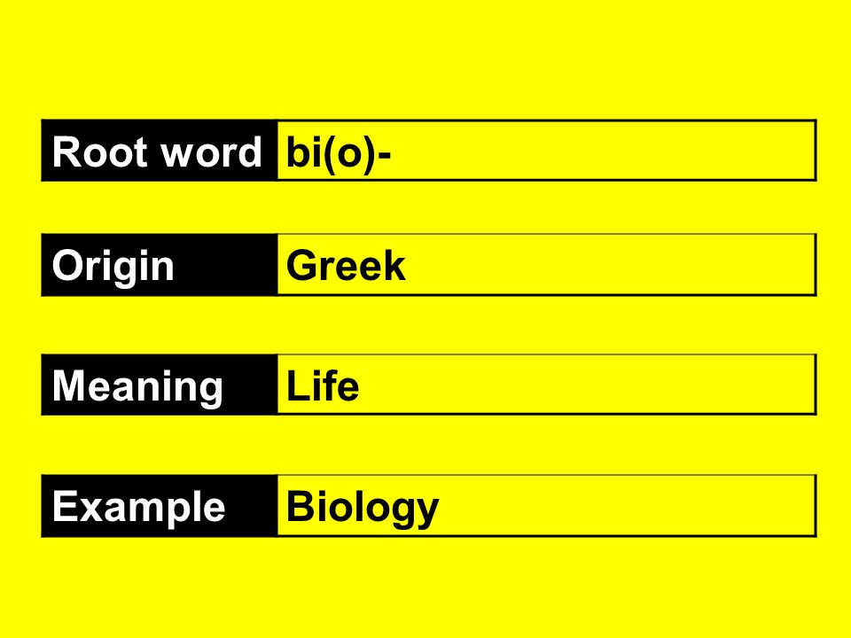 Root word bi(o)- Origin Greek Meaning Life Example Biology