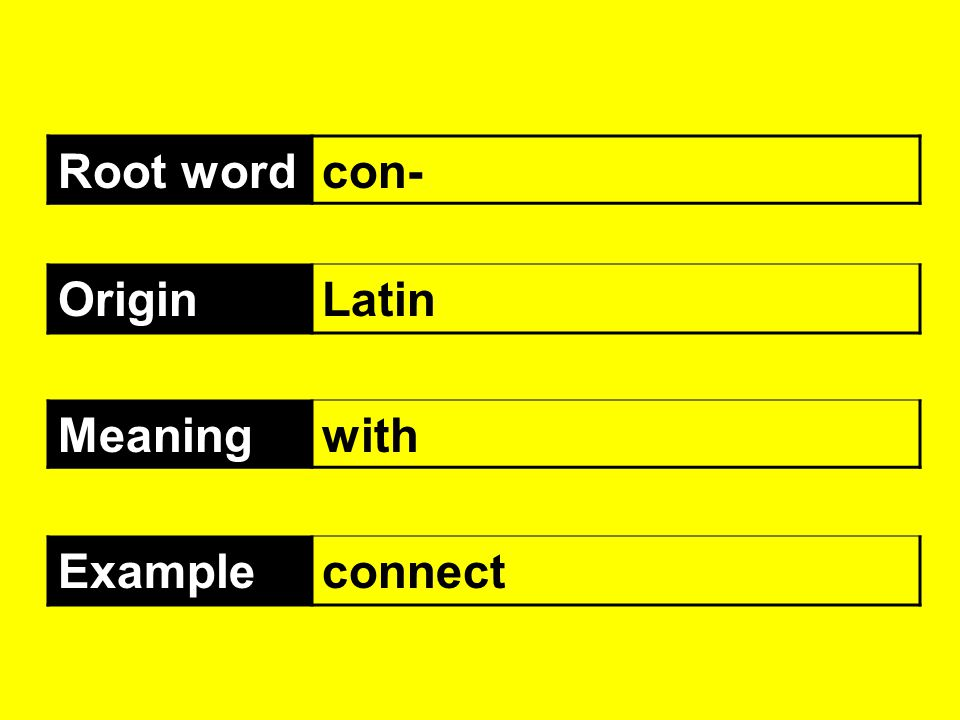 Root word con- Origin Latin Meaning with Example connect