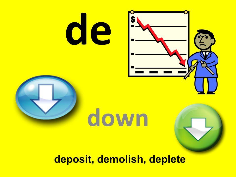 deposit, demolish, deplete