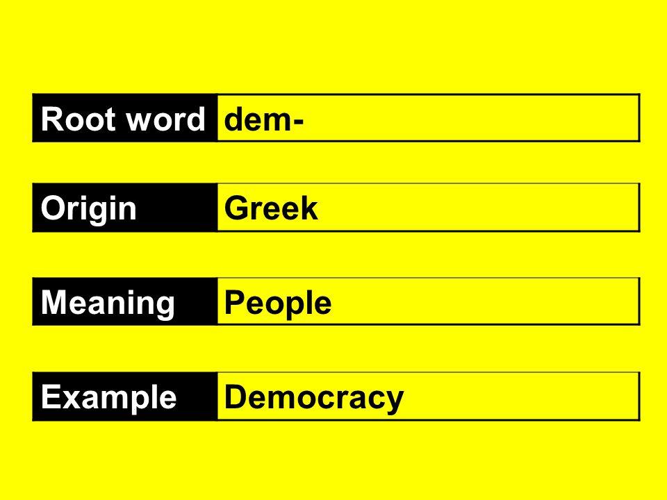 Root word dem- Origin Greek Meaning People Example Democracy