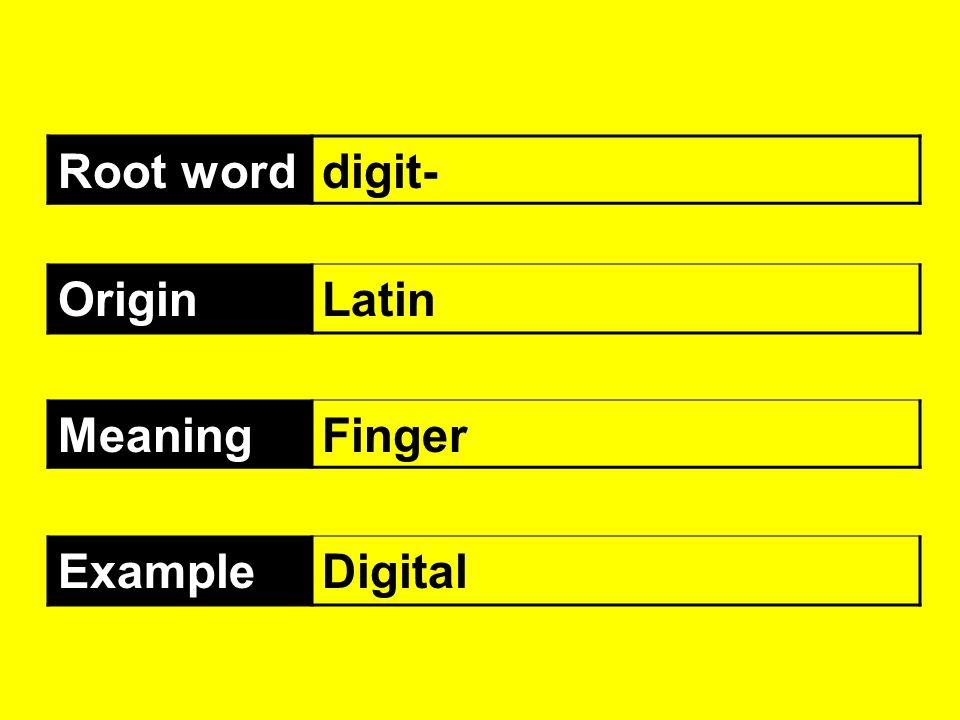 Root word digit- Origin Latin Meaning Finger Example Digital