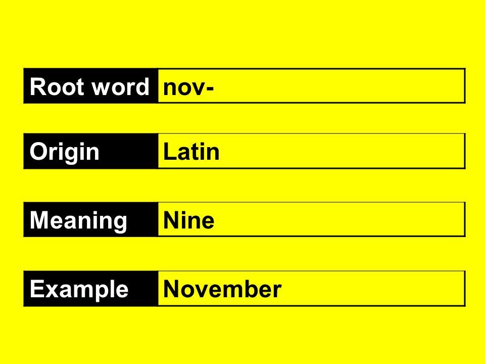 Root word nov- Origin Latin Meaning Nine Example November