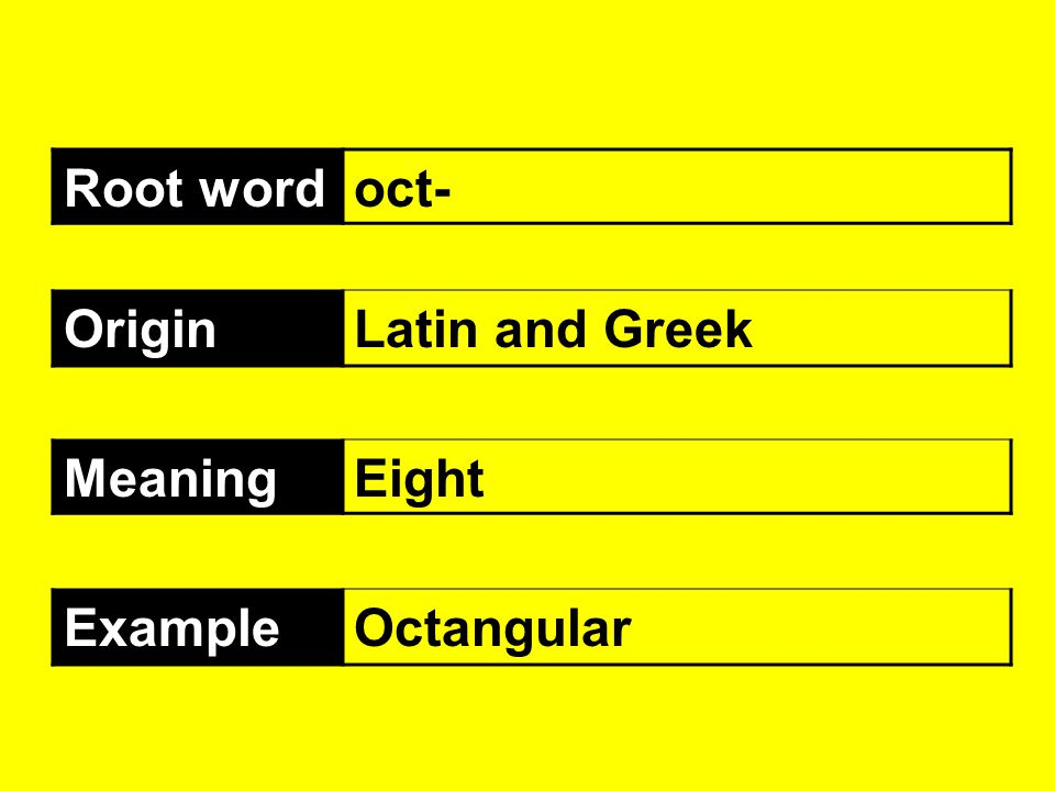 Root word oct- Origin Latin and Greek Meaning Eight Example Octangular