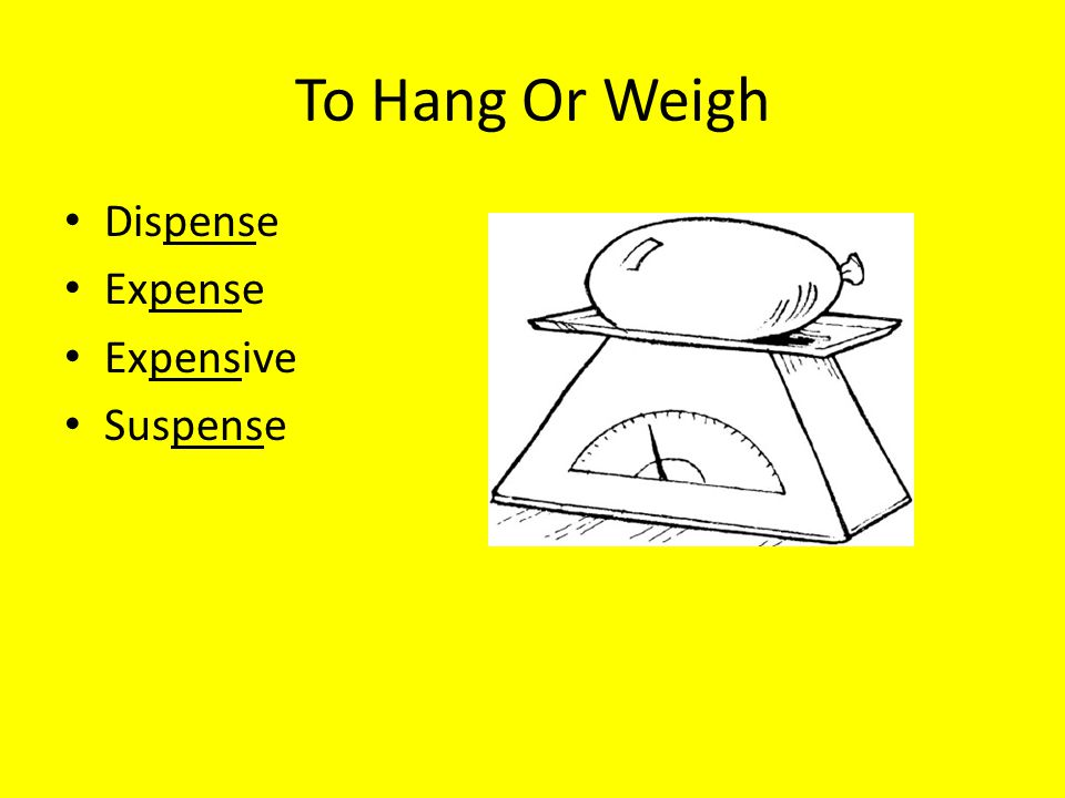To Hang Or Weigh Dispense Expense Expensive Suspense