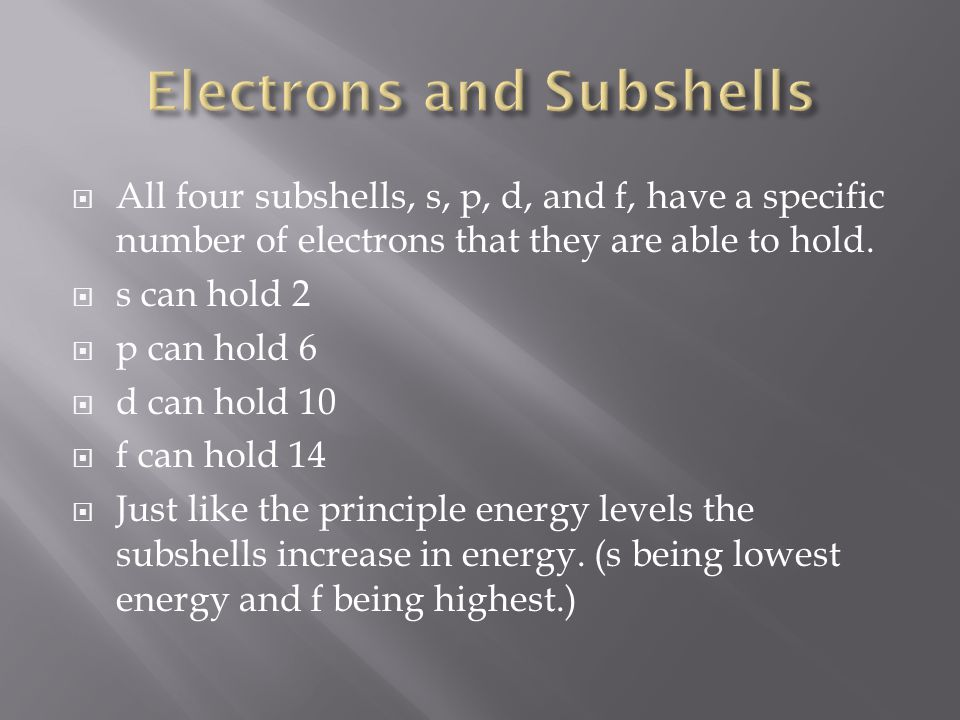 Electrons and Subshells