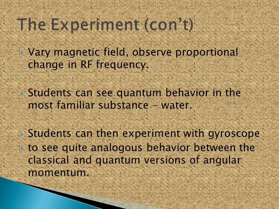 The Experiment (con't)