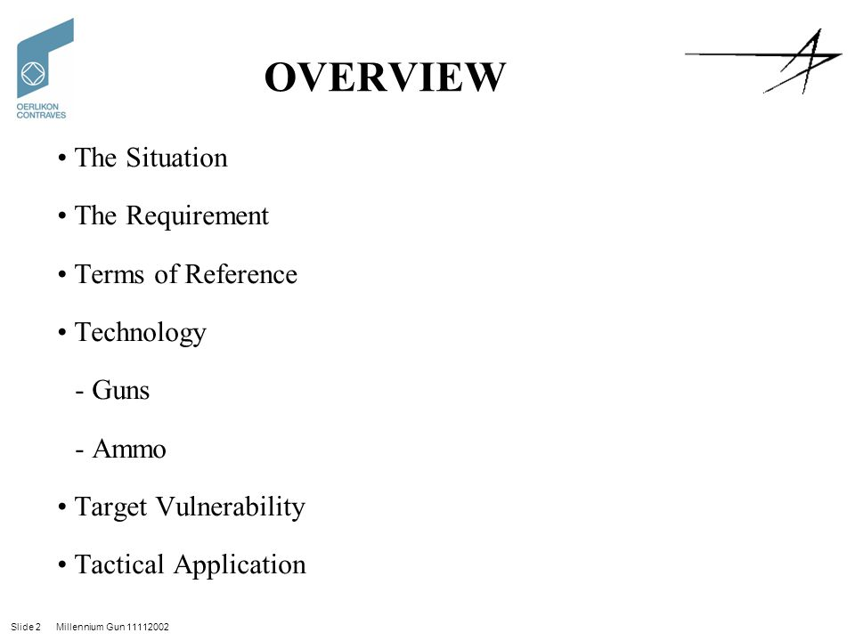 OVERVIEW The Situation The Requirement Terms of Reference Technology