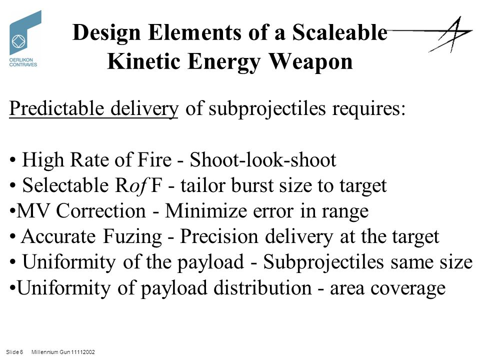 Design Elements of a Scaleable Kinetic Energy Weapon