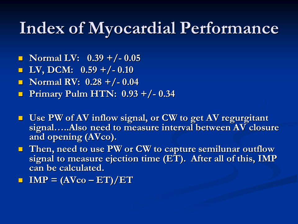 Index of Myocardial Performance