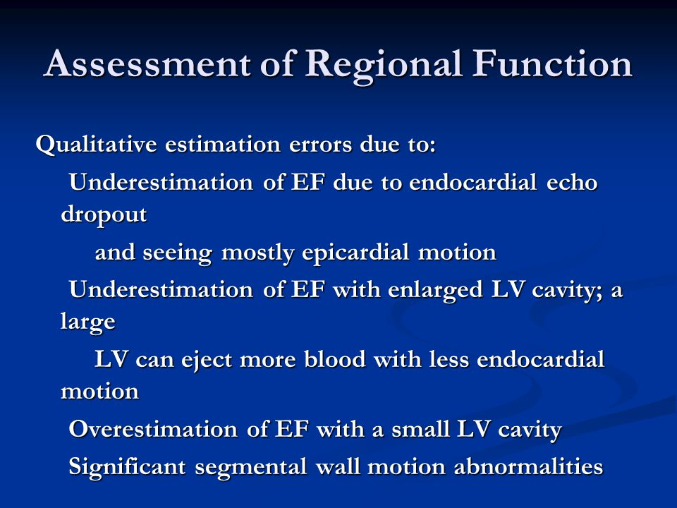 Assessment of Regional Function