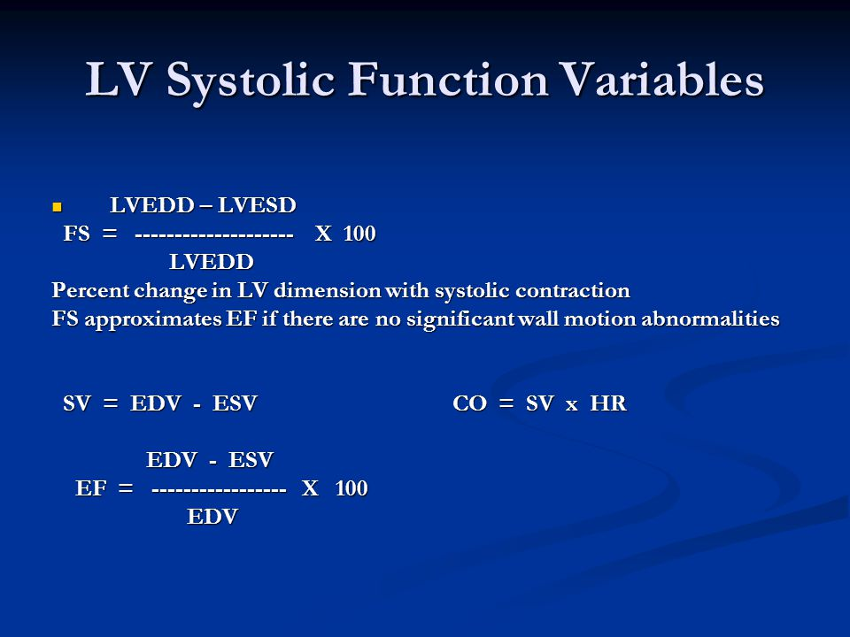LV Systolic Function Variables