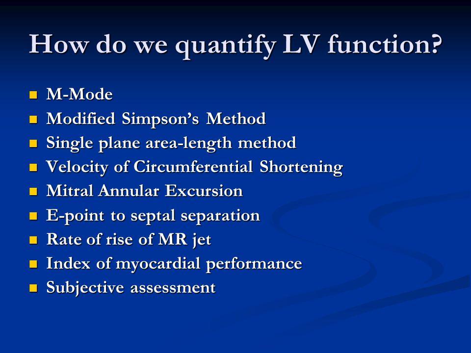 How do we quantify LV function